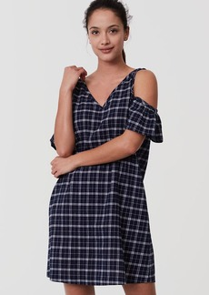 Plaid Cold Shoulder Swing Dress