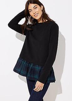 LOFT Plaid Flounce Sweatshirt