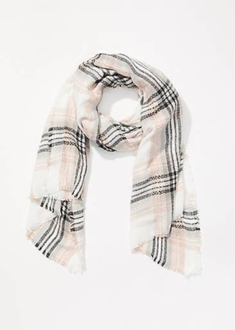 LOFT Plaid Fluffy Blanket Scarf