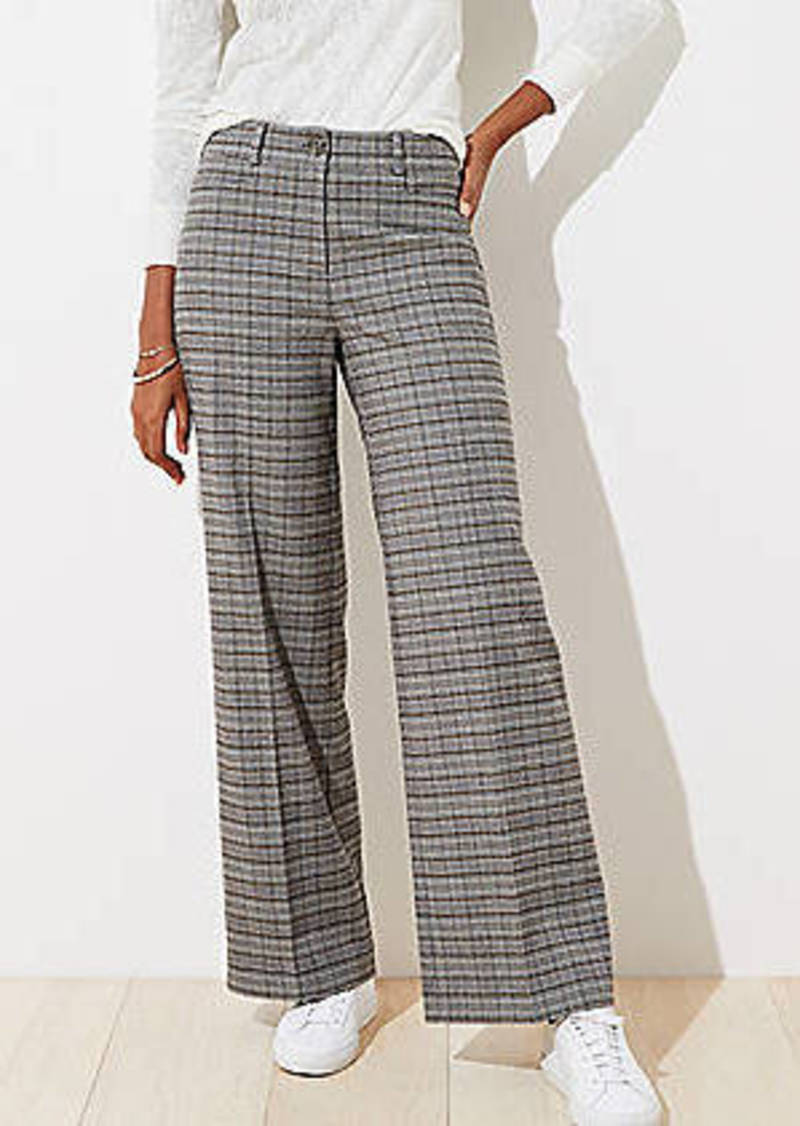 LOFT Brushed Plaid High Waist Wide Leg Pants in Curvy Fit
