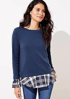 LOFT Plaid Mixed Media Bell Cuff Sweatshirt