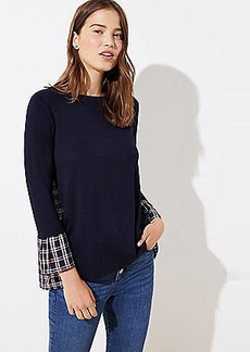 LOFT Plaid Mixed Media Bell Cuff Sweatshirt