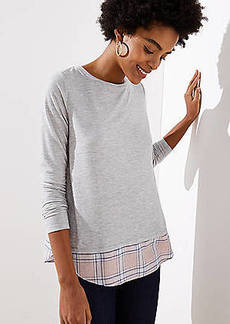 LOFT Plaid Mixed Media Shirttail Tee