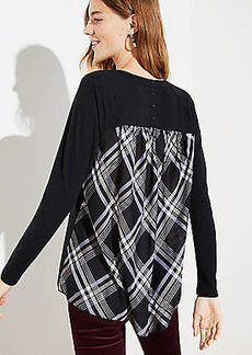 LOFT Plaid Mixed Media Tunic Top