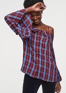 LOFT Plaid Off The Shoulder Button Down Shirt