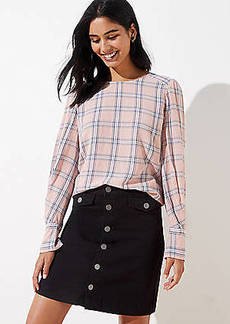 LOFT Plaid Pleated Cuff Blouse