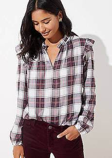 LOFT Plaid Ruffle Blouse