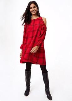 Plaid Ruffle Cold Shoulder Dress