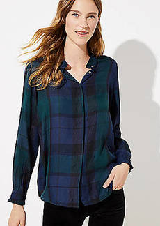 LOFT Plaid Ruffle Collar Utility Blouse