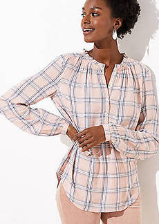 LOFT Plaid Ruffle Henley Tunic