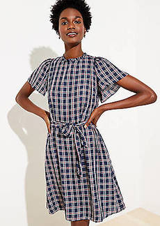 LOFT Plaid Ruffle Neck Tie Waist Dress