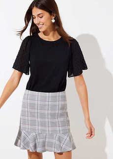 LOFT Plaid Ruffle Skirt
