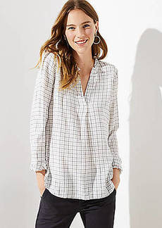 LOFT Plaid Ruffle Split Neck Blouse
