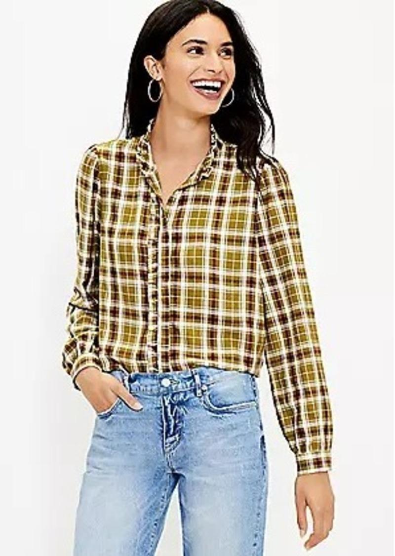 LOFT Plaid Ruffle Trim Shirt
