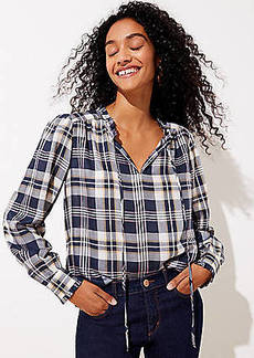 LOFT Plaid Shirred Tie Neck Blouse
