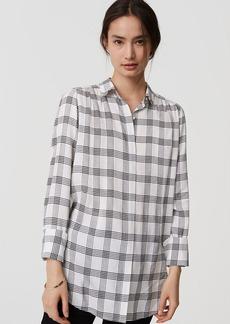 LOFT Plaid Shirred Tunic