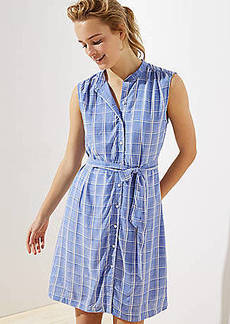 LOFT Plaid Sleeveless Tie Waist Shirtdress