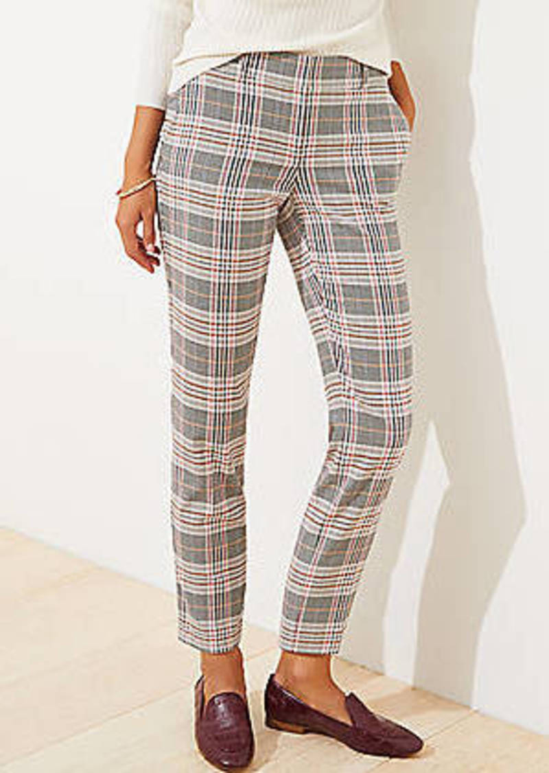 LOFT Plaid Slim Pencil Pants