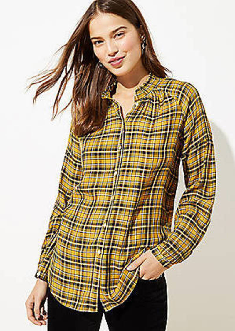 LOFT Plaid Smocked Neck Blouse