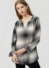 LOFT Plaid Split Neck Shirt