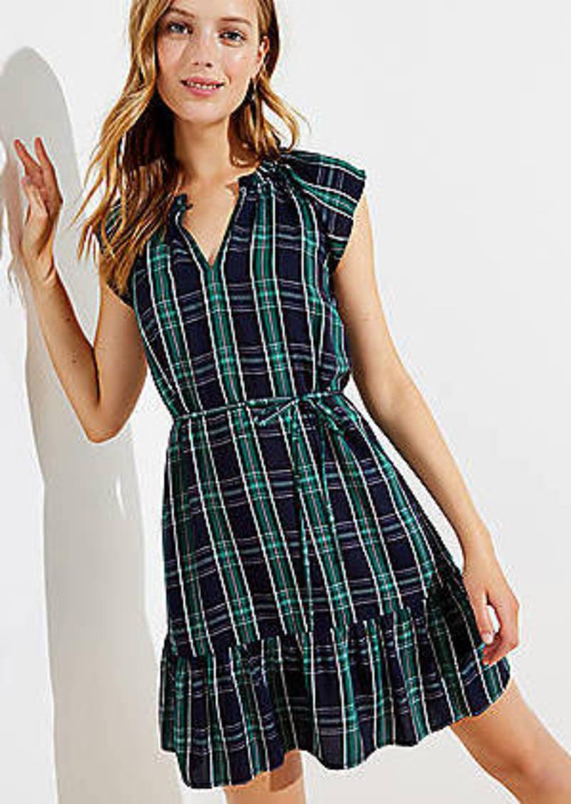 LOFT Plaid Split Neck Tie Waist Dress