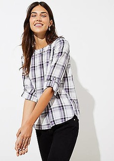 LOFT Plaid Tab Sleeve Blouse