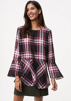 LOFT Plaid Tie Back Peplum Top