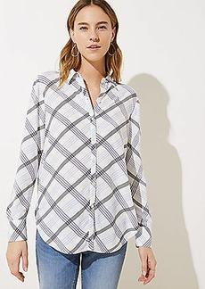 LOFT Plaid Tie Hem Utility Blouse