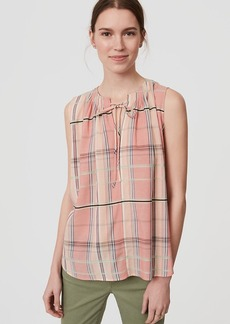 Plaid Tie Neck Shell