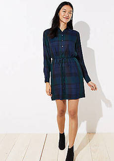 LOFT Plaid Tie Waist Shirtdress