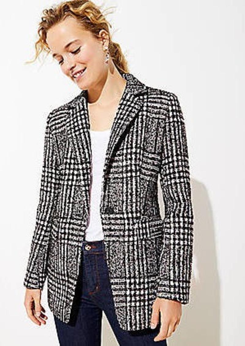LOFT Plaid Tweed Long Modern Blazer