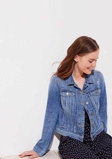 LOFT Pleated Distressed Denim Jacket