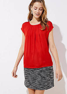 LOFT Pleated Mixed Media Top