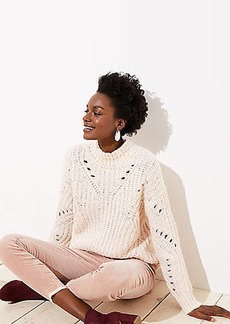 LOFT Pointelle Mock Neck Sweater