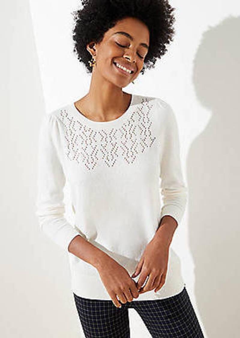 LOFT Pointelle Puff Sleeve Sweater