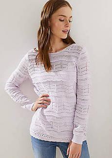 LOFT Pointelle Ruffle Sweater