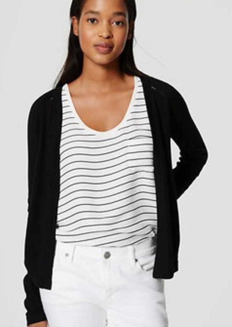 LOFT Pointelle Stripe Open Cardigan