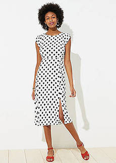 LOFT Polka Dot Cap Sleeve Midi Dress