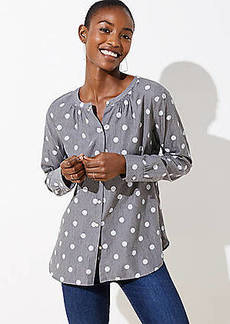 LOFT Polka Dot Collarless Button Down Shirt