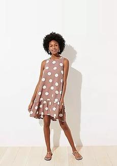 LOFT Polka Dot Tie Back Swing Dress
