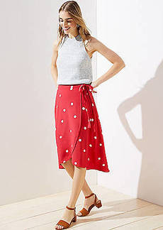 LOFT Polka Dot Wrap Skirt