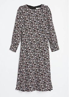 LOFT Puff Sleeve Midi Dress