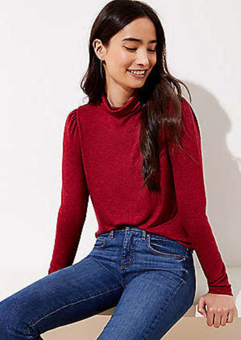 LOFT Puff Sleeve Turtleneck Top