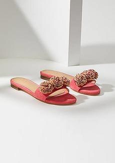 LOFT Raffia Pom Pom Slide Sandals