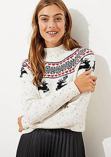 LOFT Reindeer Fairisle Sweater