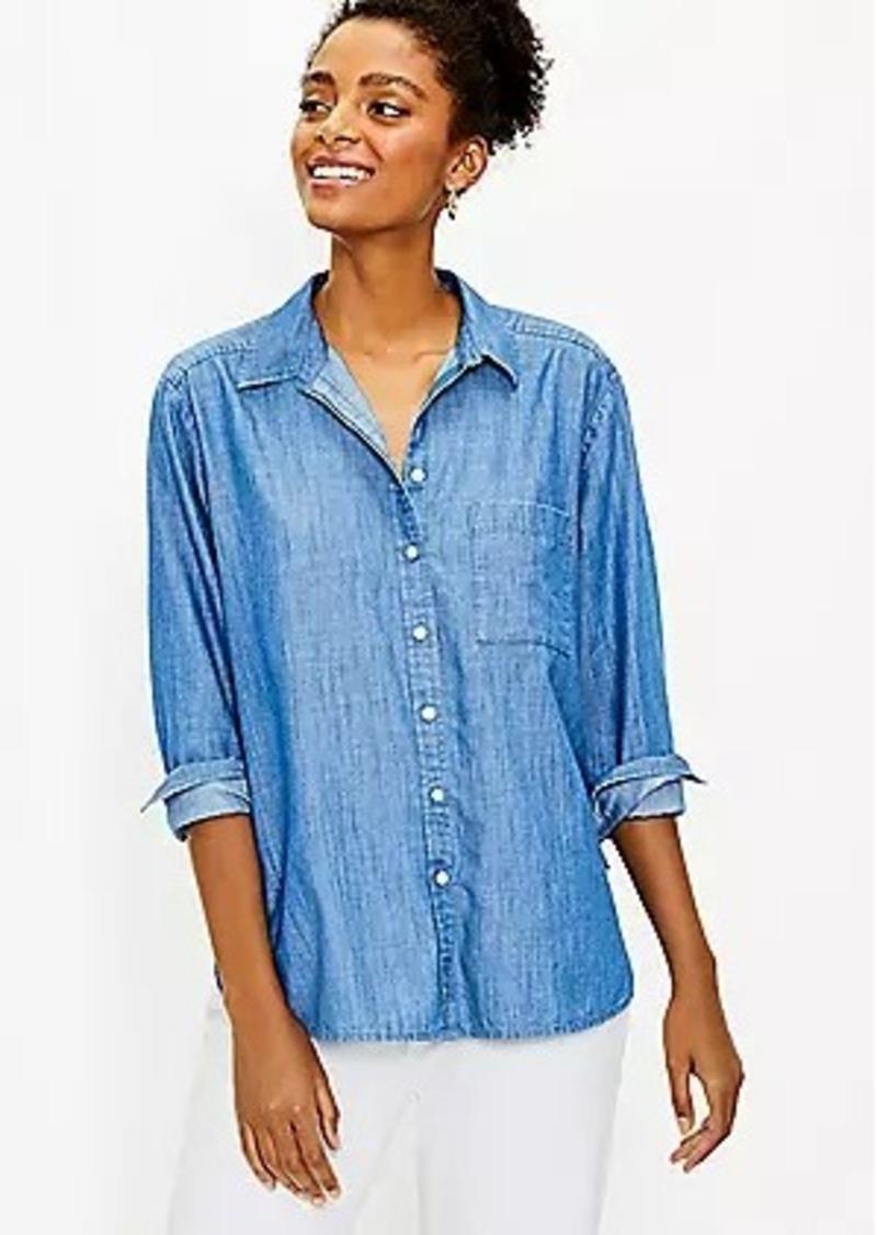 LOFT Relaxed Chambray Pocket Shirt