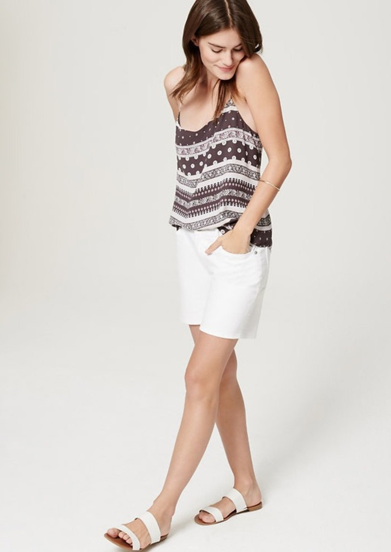 LOFT Relaxed Skinny Denim Shorts in White