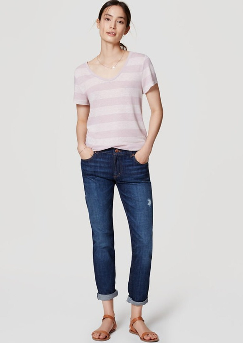 LOFT Relaxed Skinny Jeans in Dark Enzyme Wash