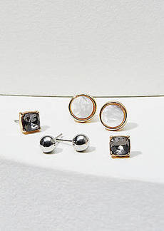 LOFT Resin & Crystal Stud Earring Set