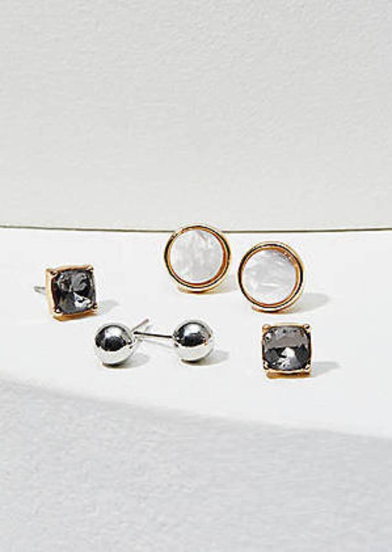 LOFT Resin & Crystal Stud Earring Set